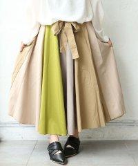 『n'Orウエストリボン配色ロングスカート』