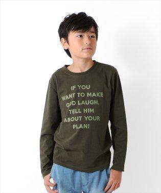 天竺・メッセージロゴ長袖Tシャツ