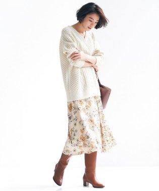 【マガジン掲載】サテンフラワープリントスカート(検索番号R43)