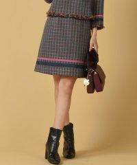 【大きいサイズ】《セットアップ対応》カラフル千鳥チェック裾配色台形ミニスカート