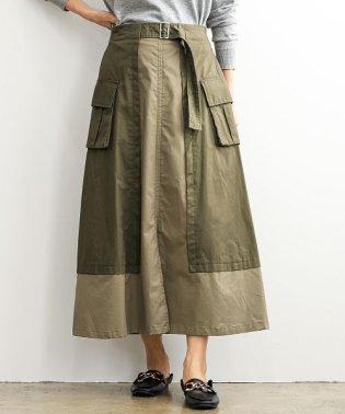 綿ツイル配色ロングスカート