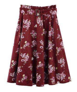 花柄プリントベロアスカート