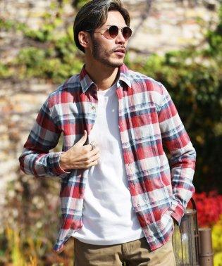 コットンネルチェックシャツ / チェックシャツ メンズ ネルシャツ シャツ 長袖シャツ