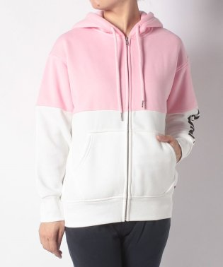 COLOUR BLOCK ZIP HOODIE LIGHT PINK TOP B