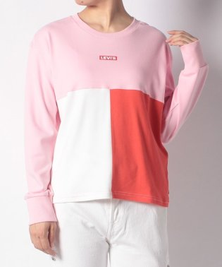 CROPPED COLOR BLOCK TOP PINK W/OFF WHIT