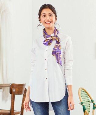 スカーフ柄タイ付3WAY長袖シャツ