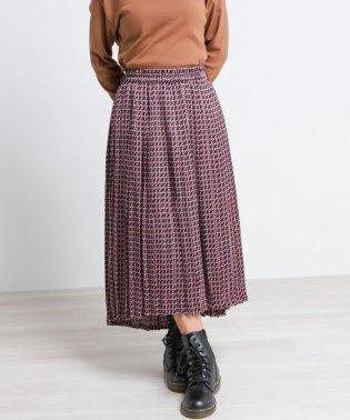 レトロ柄イレヘムプリーツスカート