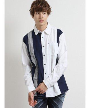 コットンオックス切替レギュラーカラー長袖シャツ