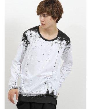 シェラック/SHELLAC 総柄グラフィック クルーネック長袖Tシャツ