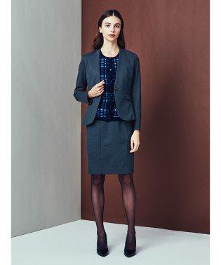 ストレッチウォッシャブル ポンチノーカラージャケット+スカート 紺