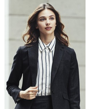 衿付き7分袖BIGシャツ ストライプ