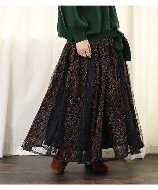 『somari柄×レース切替フレアスカート』