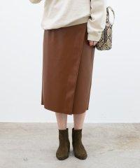 エコレザーラップタイトスカート