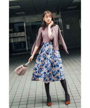 ◆フラワージャガードイレヘムフレアースカート