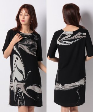 WOMAN WOVEN DRESS 3/4 SLEEVE