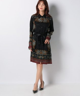 WOMAN WOVEN DRESS LONG SLEEVE