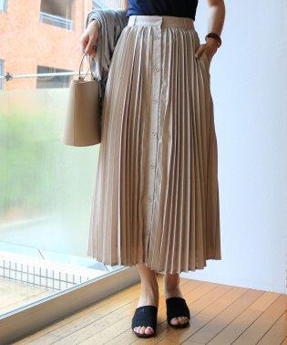 フロントボタンロングプリーツスカート