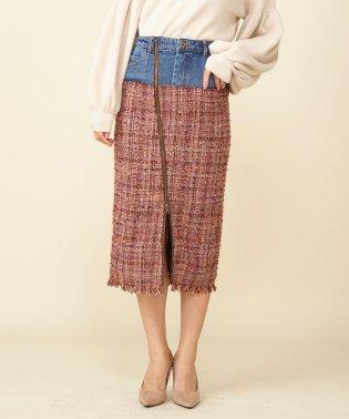 デニムドッキングタイトツィードスカート