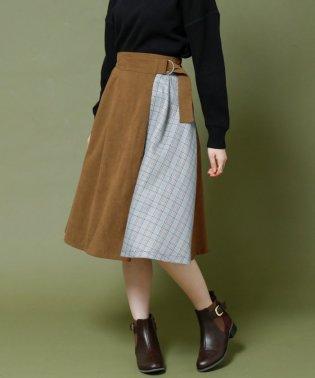 微起毛×チェック柄配色ミニスカート