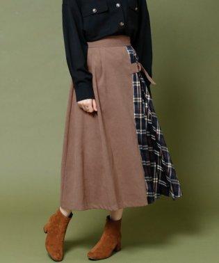 微起毛×チェック柄配色プリーツスカート