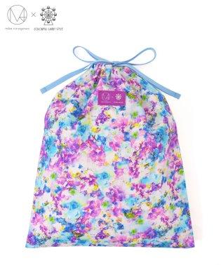巾着(ラージサイズ)  スイートピー/デルフィニウム 【mika】