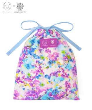 巾着(ミディアムサイズ)  スイートピー/デルフィニウム 【mika】