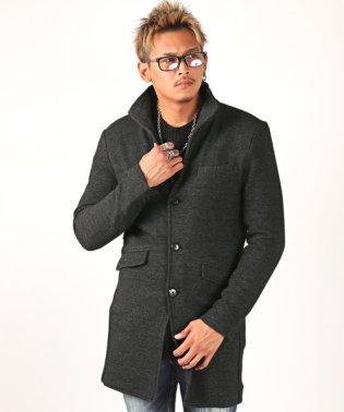 ジャカードイタリアンカラーコート/コート メンズ イタリアンカラー ジャカード 凸凹