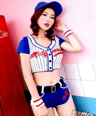 【コスチューム】ベースボールガール(トップス・ショートパンツ・キャップ・カフス・ベルト・ソックス)セット