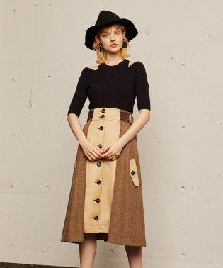 配色ヘリンボーンフロントボタンスカート