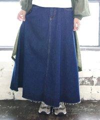 配色デニムリメイクAラインロングスカート【M】【L】【LL】レディース 春夏秋冬 スカート 綿100% ネイビー ブルー ロング デニム カットオフデニム こな