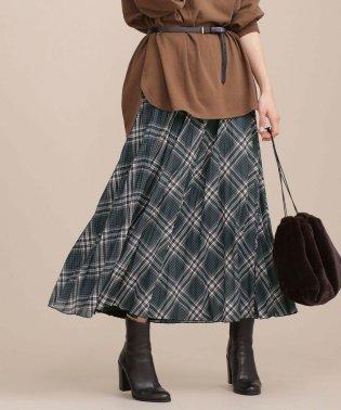 チェックリバープリーツスカート