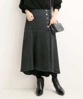 サイドボタンデニムペプラムスカート◆