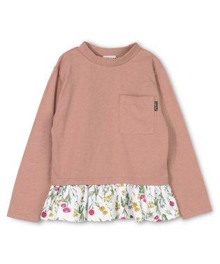 花柄切替長袖Tシャツ