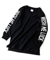 袖プリント長袖Tシャツ