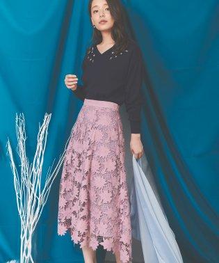 スエード刺繍レーススカート