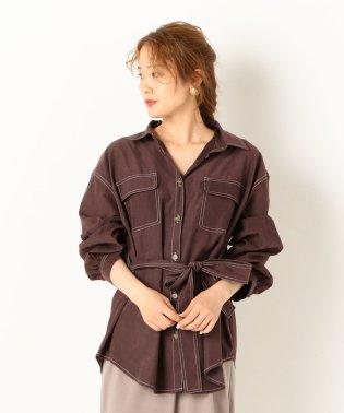 A-配色ステッチミリタリーシャツ