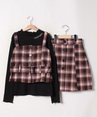 【二コラコラボ】 チェックビスチェ×スカート×Tシャツ3点セット