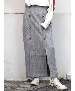 チェックデザインフロントボタンスカート