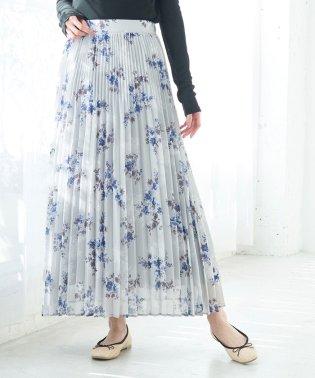 【WEB限定】ニュアンス花柄プリーツスカート