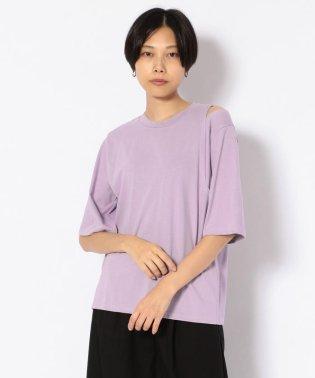 SUGAR ROSE/シュガーローズ /アシンメトリー肩スリットTシャツ