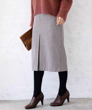 【洗濯機で洗える】ガンクラブチェック柄ナロータイトスカート