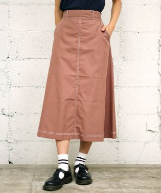[GIORDANO]配色ステッチ チノフレアスカート