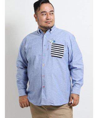 【大きいサイズ】グランバック/GRAND-BACK オックスポケット切替ボタンダウン長袖シャツ
