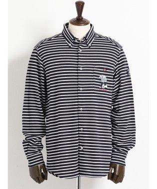 【大きいサイズ】シナコバ/SINA COVA 天竺ボーダーカット ボタンダウンシャツ