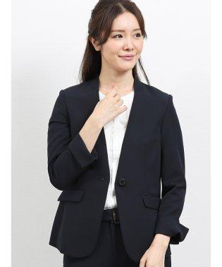 ダブルクロス V字ノーカラージャケット 紺