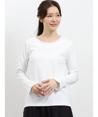 衿ビジューグレンチェック膨れジャガード長袖プルオーバー