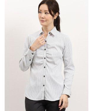 レピュトン レギュラーカラーギャザー長袖シャツ