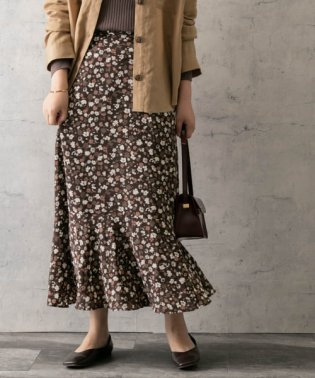 autumn flower print skirt