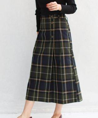サイドボタン起毛セミタイトスカート