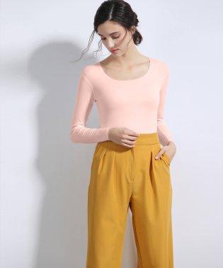 シームレスインナー[COOL] インナー レディース U型Teeシャツ Tシャツ 通気 吸湿 シームレス ロングスリーブ 長袖 薄手 トップス AIR COOL